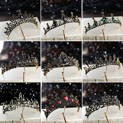 Gothic Black Crown Crystal Metal Queen Tiara Birthday Party Headwear](Party Crown)