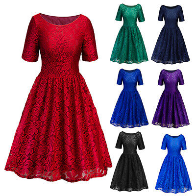 Womens Vintage Lace Rockabilly Swing Skater Party Evening Cocktail Retro Dress