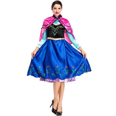 Women Adult Anna Fancy Dress Frozen Halloween Costume Dress Up ZG9