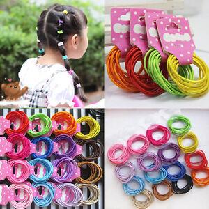 100 Stück Baby Kinder Mädchen Elastisch Bunt Haargummi Pferdeschwanz Haarbänder