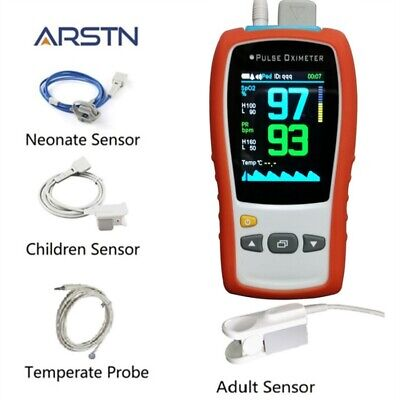 3 Sensors Adult Child Neonate 2.8tftlcd Handheld Pulse Oximeter Spo2prtemp Ce