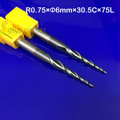 2pc Solid Carbide tapered Ball nose end mill steel Cutter R0.75*30.5*D6*75 HRC55