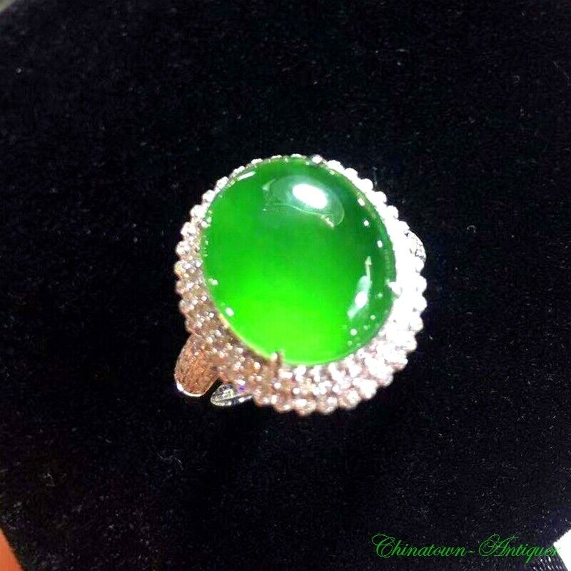 Certified Grade A Natural Untreated Ice Yang Green Jadeite Jade Finger Ring#3184