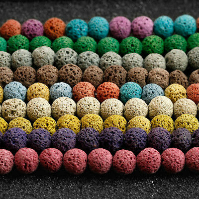Volcanic Lava Rock - Dyed Volcanic Lava Rock Gemstone Beads Natural Round Loose 8mm 15.5