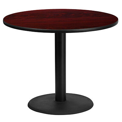 36 Round Mahogany Laminate Table Top With 24 Round Table Height Base