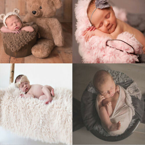 Baby Photo Props Backdrop Newborn Photography Soft Fur Quilt Mat Blanket Rug Black