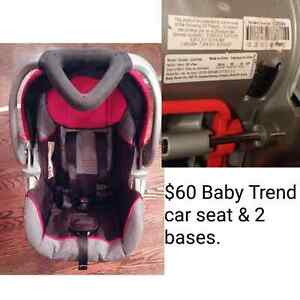 BabyTrend car seat and 2 bases