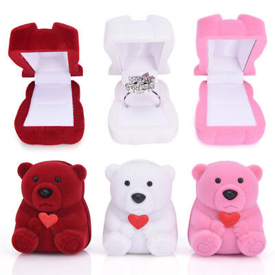 1x Mini Lovely Bear Jewelry Gift Box For Rings Small Earrings Pendant Neckla SU