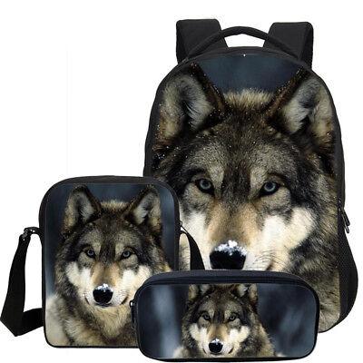 3PC Cool Wolf Wild Animal Kids Large Backpack Shoulder Bag Pencil Case Wholesale