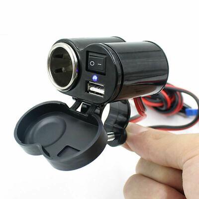 Motorrad Zigarettenanzünder USB Buchse Steckdose Adapter Lenker+Schalter 12-24V