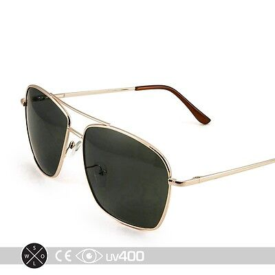 Classic Square Aviator Sunglasses Gold Metal Frame Lens S234