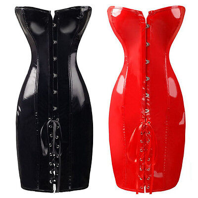 Women Long Corset Wet Look Faux Leather Costume Overbust Bustiers Shapewear Wet Look Lace Up Bustier