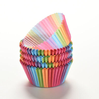 100X Colorful Rainbow Paper Cake Cupcake Liners Baking Muffin Cup Case Party - Cupcake Paper