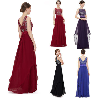 Dress - Women Long Evening Party Ball Prom Gown Formal Bridesmaid Cocktail V-back Dress