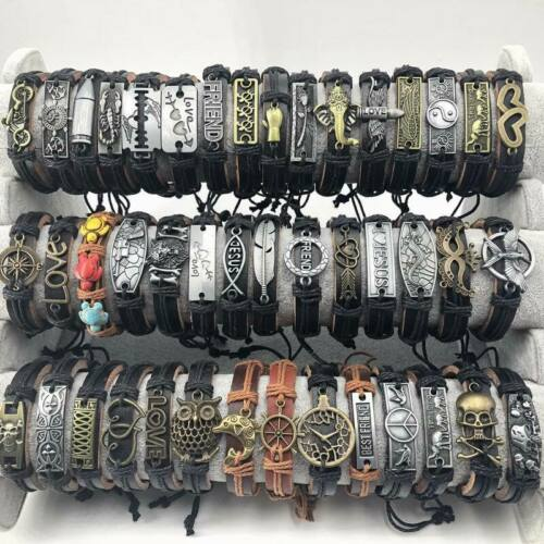 Wholesale 50pcs Mixed Styles Vintage mens Alloy leather Cuff Biker Bracelets