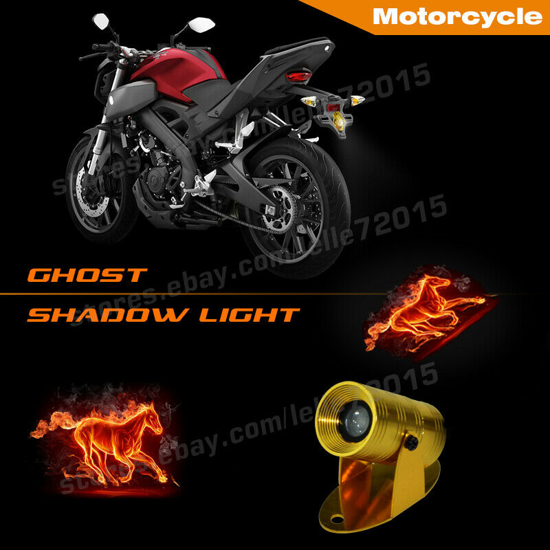 Details About Motorcycle Fire Horse Logo Warning Rear Motor Projector Laser Ghost Shadow Light