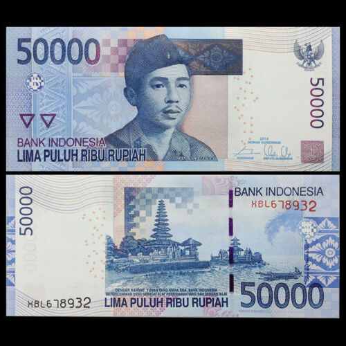 1 x Indonesia 50000 (50,000) Rupiah banknote-UNC paper money currency