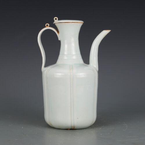 "10"" Song dynasty Hutian Kiln sky cyan Glaze Edged Carve Flower Porcelain Teapot"