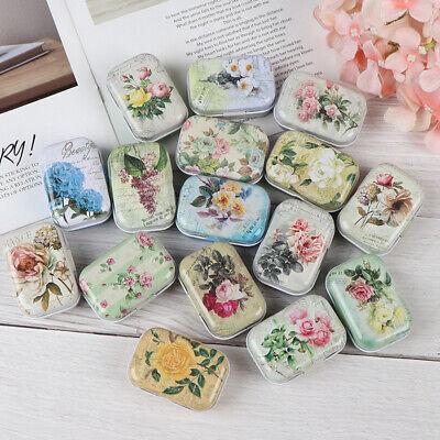 Mini Flower Tin Trinket Jewelry Coin Box Tinplate Storage Case Small RectangulES
