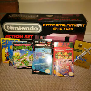 Nintento entertainment system in box with games