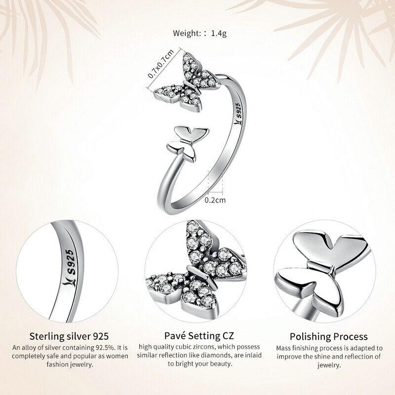 Bamoer .925 Sterling Silver Ring Avec Clair Zircone Cubique Dancing Butterflies Femmes Bijoux