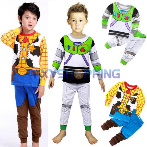 2pcs Cartoon Baby Kids Boys Girls Cotton Nightwear Sleepwear