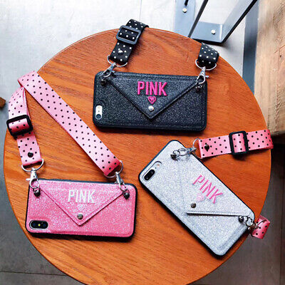 Cross-body Bling Card Envelope Pink Wallet Case Cover For iPhone XS Max XR 8+ 6s Cross Cell Phone Case