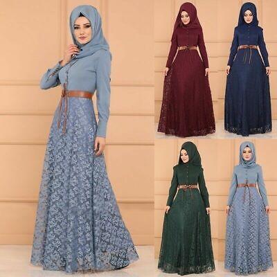Women Muslim Islamic Abaya Gown Dress High Waist Lace Maxi Jilbab Kaftan Dresses