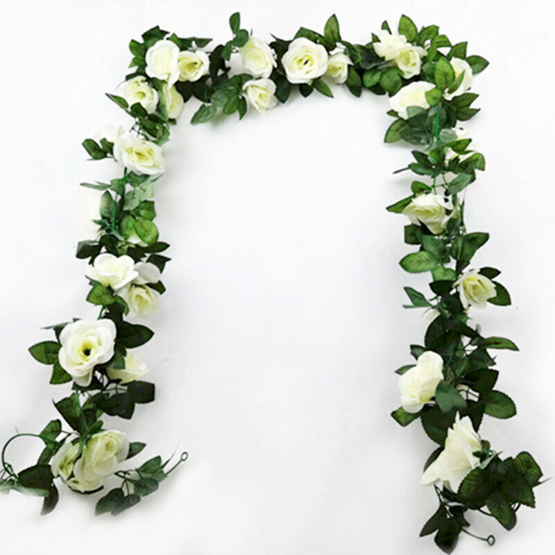 Home Decoration - 16Heads Artificial Faux Silk Flower Rose Leaf Garland Vine Home Party Decor 7Ft