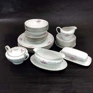Dinnerware Set 30-Pcs Fine China Of Japan White Floral Chateau