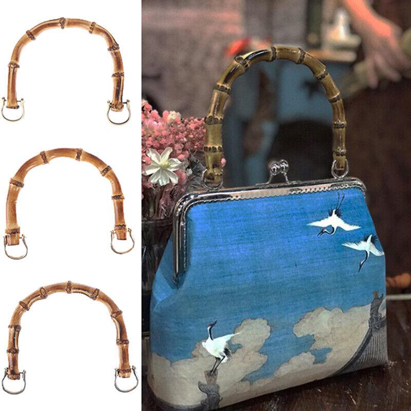 1Pcs Bamboo Bag Handle Replacement for DIY Purse Making Handbag Shopping Tote FJ
