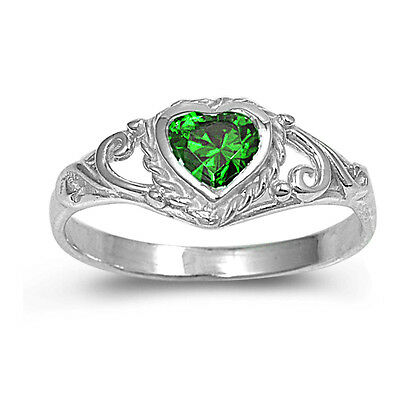 (.925 Sterling Silver Heart Shape Emerald CZ Promise Ring Size 1 2 3 4 5 NEW)