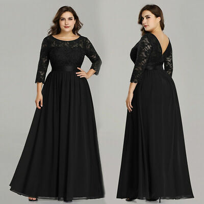 Bride Formal Evening Dress - Ever-Pretty US Plus Size Black Formal Evening Gown Mother Of Bride Dress 07412