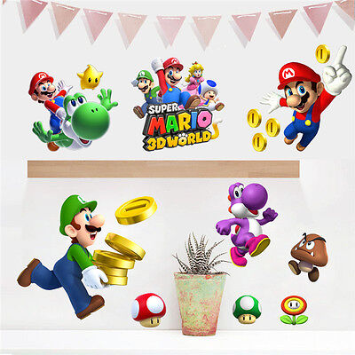 Super Mario Bros Wall Art Decals Sticker Kids baby Room Decor Removable Mural - Super Mario Brothers Wall Decals