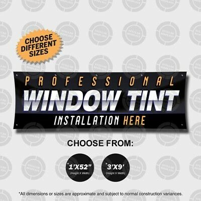 Professional Window Tint Banner Sign Display Auto Custom Sounds Rims Tires Shop