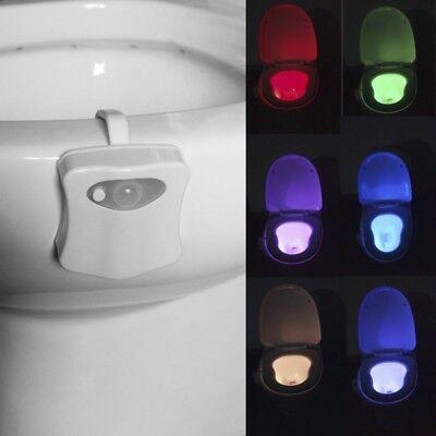 LED Light Motion Activated Seat Toilet Sensor Night Light Bathroom Lamp
