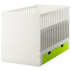 White Ikea STUVA Crib/ toddler day bed with green drawers