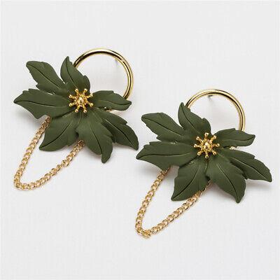 Circle Chain Drop Earrings (New Women Enamel Flowers Circle Long Chain Geometric Ear Drop Earrings Jewelry )