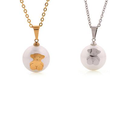 Woman Fun Europe Bear Circle Pendant Crystal Ball Chain Event Necklace Jewelry (Bear Balls)