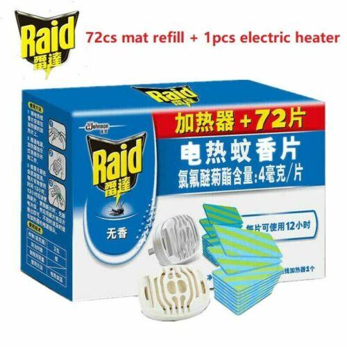 Raid 72 pcs Mosquito Mat Refill 12hrs/pcs +1 pcs  Electric mosquito repeller