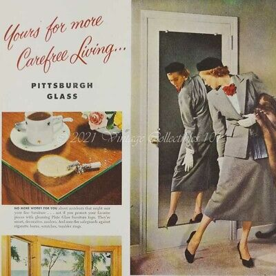 1952 Pittsburgh Glass Windows Mirrors Tabletops home photo art decor vintage ad