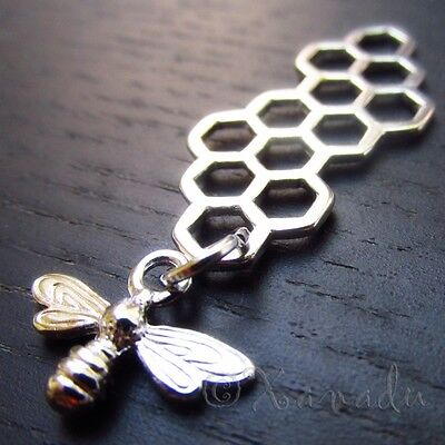 Bee Honeycomb Charms - Wholesale Silver Tone Pendants C1394 - 5, 10, 20PCs](Bee Charms)