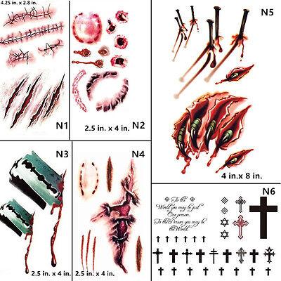Vampire Bite Temporary Tattoos (Halloween Cosplay Vampire Bite Tooth Print Scar Bloody Temporary Tattoo)
