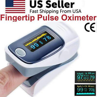 Finger Pulse Oximeter Blood Oxygen Spo2 Monitor Pr Pi Heart Rate Grey Fda Ce