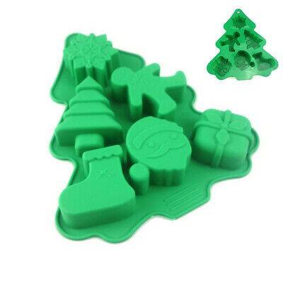 Silicone Baking Holes Christmas Mould 6 Mold Fondant Tools Chocolate Decor Tree
