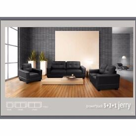 Jerry Fabric Sofas & Sets Beautiful Design (Corner Left Hand & 3 Seaters, Black & Brown)