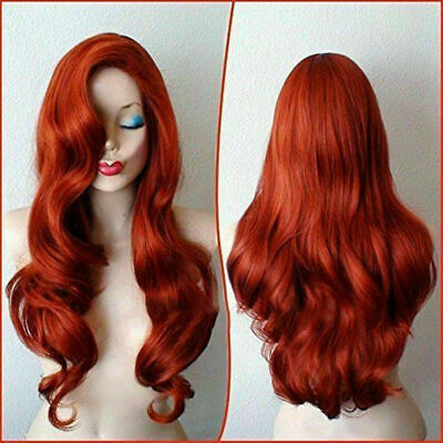 Copper Red Jessica Rabbit Curly Wavy Long Anime Cosplay Women Wig - Jessica Rabbit Wig