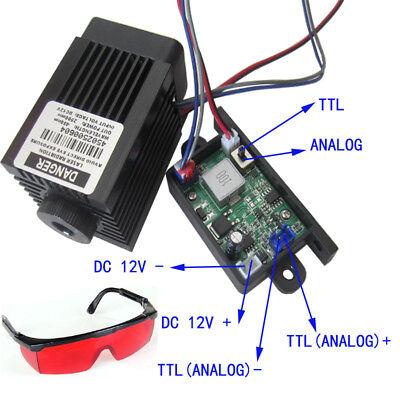 Focusable 2.5w 2500mw 450nm Blue Laser Module Ttlanalog Signal Engraving Goggle