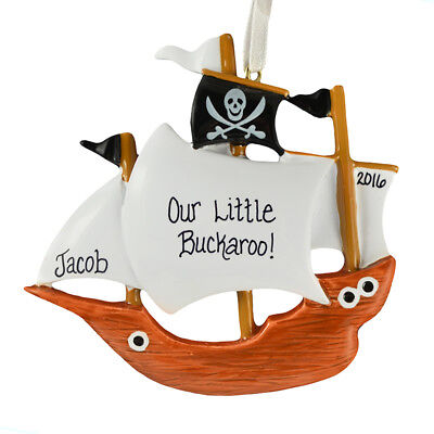 Pirate Ship Personalized Christmas Tree Ornament ()