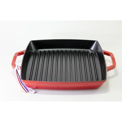 Staub Grillpfanne quadratisch kirschrot 28 cm rot Gusseisen Rillen Grillen eckig ()